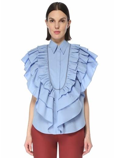 Brunello Cucinelli Brunello Cucinelli  Fırfır Detaylı Gömlek 101614036 Mavi